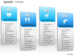 1014 Agenda Four Points Vertical Textboxes Diagram Powerpoint Template