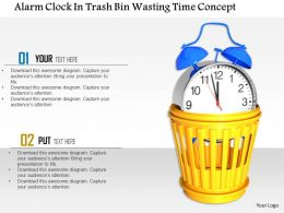 1014 Alarm Clock In Trash Bin Wasting Time Concept Image Graphics For Powerpoint