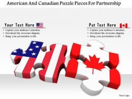 1014 American And Canadian Puzzle Pieces For Partnership Image Graphics For Powerpoint