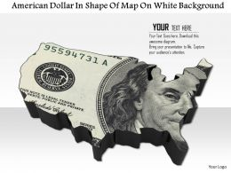 1014 American Dollar In Shape Of Map On White Background Image Graphics For Powerpoint