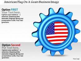 1014 American Flag On A Gears Business Image Graphics For PowerPoint