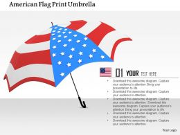 1014 American Flag Print Umbrella Image Graphics For PowerPoint