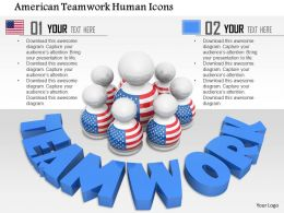 1014 American Teamwork Human Icons Image Graphics For PowerPoint