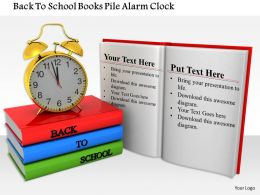 1014 Back To School Books Pile Alarm Clock Image Graphics For PowerPoint