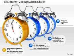 1014 Be Different Concept Alarm Clocks Image Graphics For PowerPoint