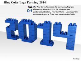 1014 Blue Color Lego Forming 2014 Image Graphics For PowerPoint