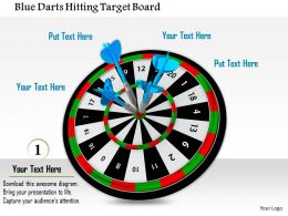 1014 Blue Darts Hitting Target Board Image Graphics For PowerPoint