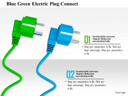 1014 Blue Green Electric Plug Connect Image Graphics For PowerPoint
