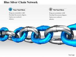 1014 Blue Silver Chain Network Image Graphics For PowerPoint