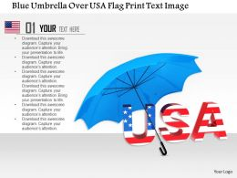 1014 Blue Umbrella Over USA Flag Print Text Image Graphics For PowerPoint