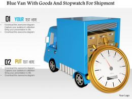 1014 Blue Van With Goods And Stopwatch For Shipment Image Graphics For Powerpoint