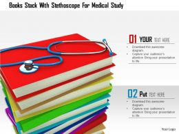 1014 Books Stack With Stethoscope For Medical Study Image Graphics For Powerpoint