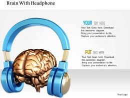 1014 Brain With Headphone Image Graphics For PowerPoint