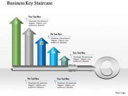 1014 Business Key With Five Growth Arrows Powerpoint Template