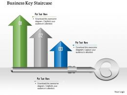 1014 Business Key With Growth Arrow Bars Powerpoint Template