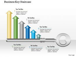 1014 Business Key With Six Growth Arrows Powerpoint Template