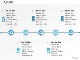 1014 Business Plan Agenda Five Points Timeline Infographic Powerpoint Presentation Template