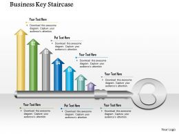 1014 Business Plan Business Key With Seven Arrows Staircase Powerpoint Presentation Template