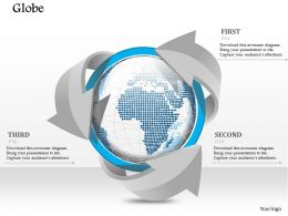 1014 Business Plan Globe Surrounded With Arrows Powerpoint Presentation Template