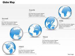 1014 Business Plan Globes Timeline Five Steps Line Powerpoint Presentation Template
