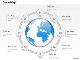 1014 Central America Globe In Eight Spheres Circle Line Powerpoint Template