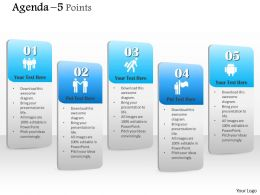 1014 Five Points Agenda Vertical Text Boxes Powerpoint Template