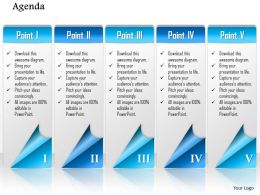 1014 Five Points Agenda Workflow Powerpoint Template