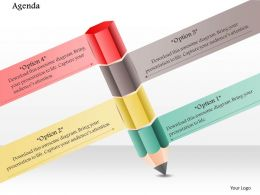 1014 Four Options Pencil Education Powerpoint Template