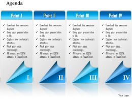 1014 Four Points Agenda Workflow Powerpoint Template