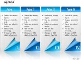 1014 Four Points Agenda Workflow Powerpoint Template