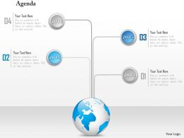 1014 Globe With 2014 To 2016 Timeline Agenda Powerpoint Template