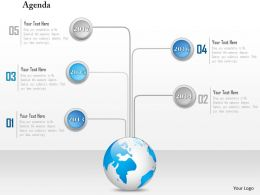 1014 Globe With 2014 To 2017 Timeline Agenda Powerpoint Template