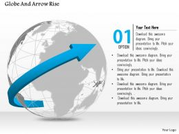 1014 Globe With Growth Arrow Template Powerpoint Template