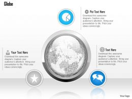 1014 Globe With Outline And Three Icons Powerpoint Template