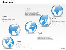 1014 Globes Timeline Five Steps Line Powerpoint Template