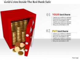 1014 Gold Coins Inside The Red Bank Safe Image Graphics For Powerpoint