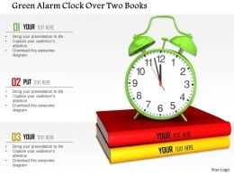 1014 Green Alarm Clock Over Two Books Image Graphics For Powerpoint