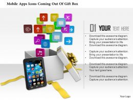 1014 Mobile Apps Icons Coming Out Of Gift Box Image Graphics For Powerpoint