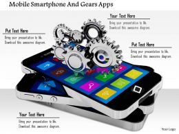 1014 Mobile Smartphone And Gears Apps Image Graphics For Powerpoint