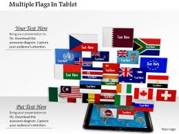 1014 Multiple Flags In Tablet Image Graphics For Powerpoint