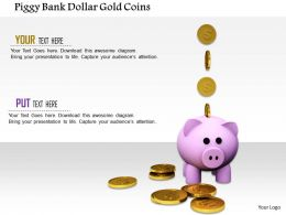 1014 Piggy Bank Dollar Gold Coins Image Graphics For Powerpoint
