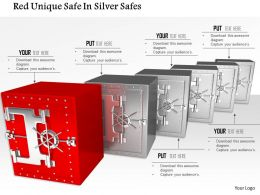 1014 Red Unique Safe In Silver Safes Image Graphics For Powerpoint