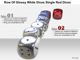 1014 Row Of Glossy White Dices Single Red Dices Image Graphics For Powerpoint