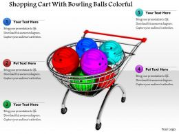 1014 Shopping Cart With Bowling Balls Colorful Image Graphics For Powerpoint