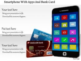 1014 Smartphone With Apps And Bank Card Image Graphics For Powerpoint