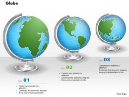 1014 Three Different Areas Map Globes Powerpoint Template