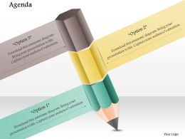 1014 Three Options Pencil Graphic Powerpoint Template