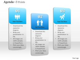 1014 Three Points Agenda Vertical Text Bars Powerpoint Template