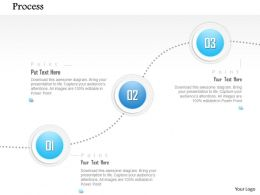 1014 Three Stages Spheres Process Line Diagram Powerpoint Template