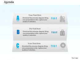 1014 Three Steps Agenda Workflow Diagram Powerpoint Template